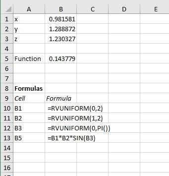 Monte Carlo integration spreadsheet set-up
