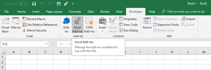 Excel developer tab