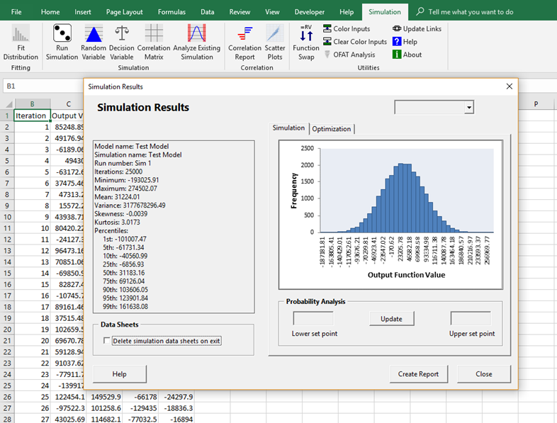 Simulation Master Output. Monte Carlo simulation in Excel.