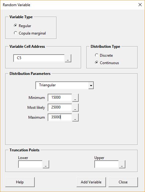 Random variable form - populated