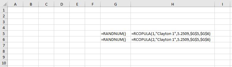 Copula functions in worksheet