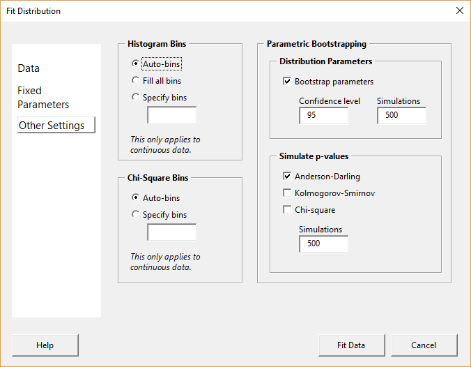 Fit distribution form - other settings page