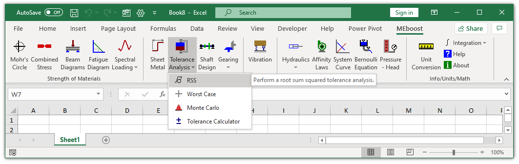 MEboost Excel ribbon with RSS button highlighted