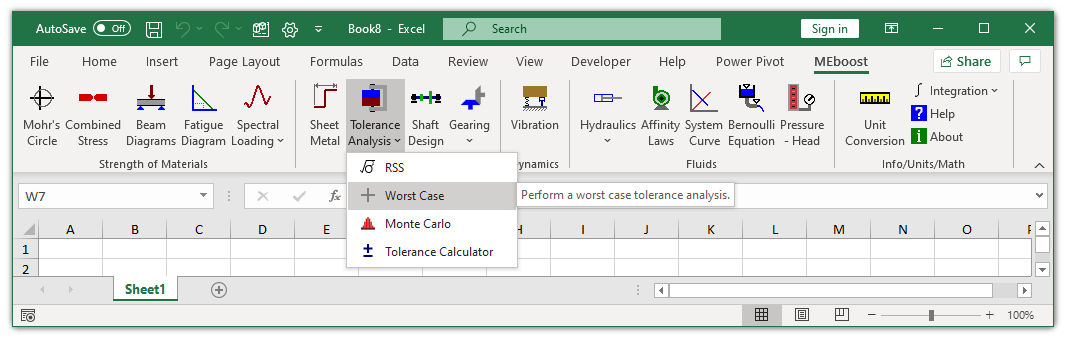 MEboost Excel ribbon with worst case button highlighted