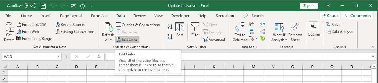 Edit links ribbon button