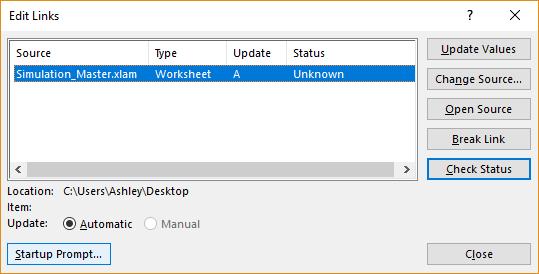 Edit links window