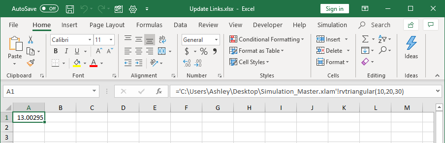 Simulation Master link that is not updated.