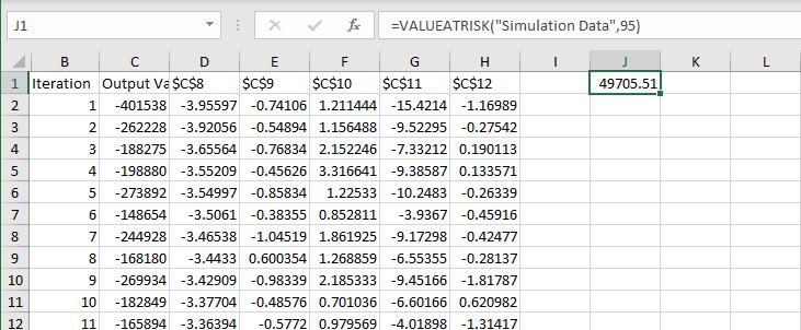 VALUEATRISK function in worksheet