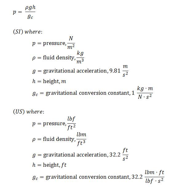 pressure head conversion equation