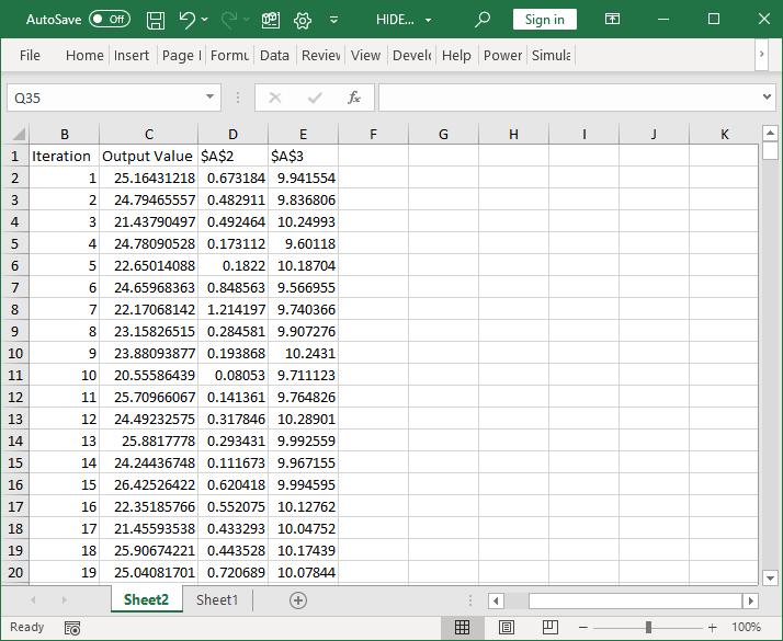 Simulation data sheet