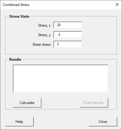 Combined stress form with stress values entered