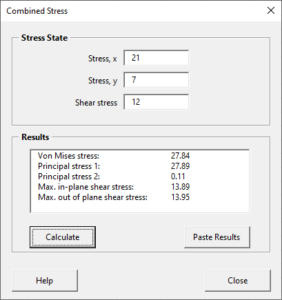 Combined stress calculator
