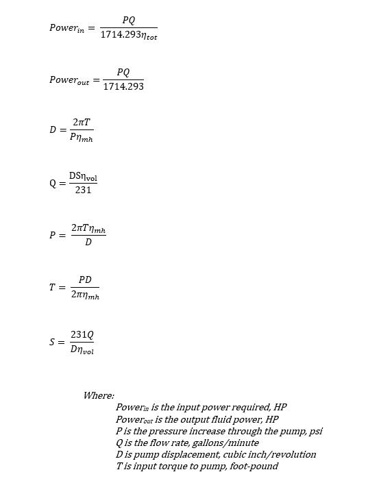 Hydraulic pump calculation equations - US