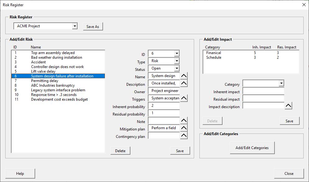 Risk register manager tool