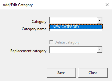Add/Edit category form - new category