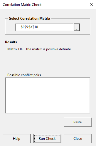 Matrix check form - results OK