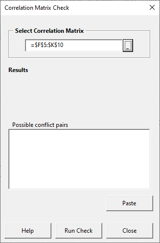 Matrix check form with matrix selected