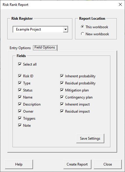 Risk rank report form - field options