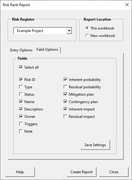Risk rank report form - save settings