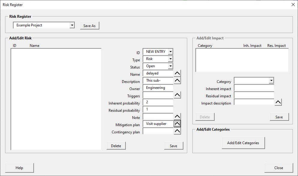 Risk register form - adding an entry