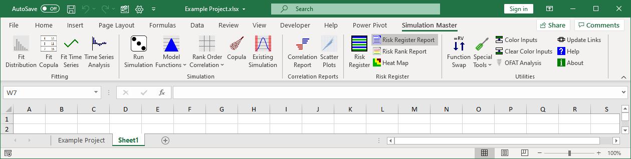 Risk register report button