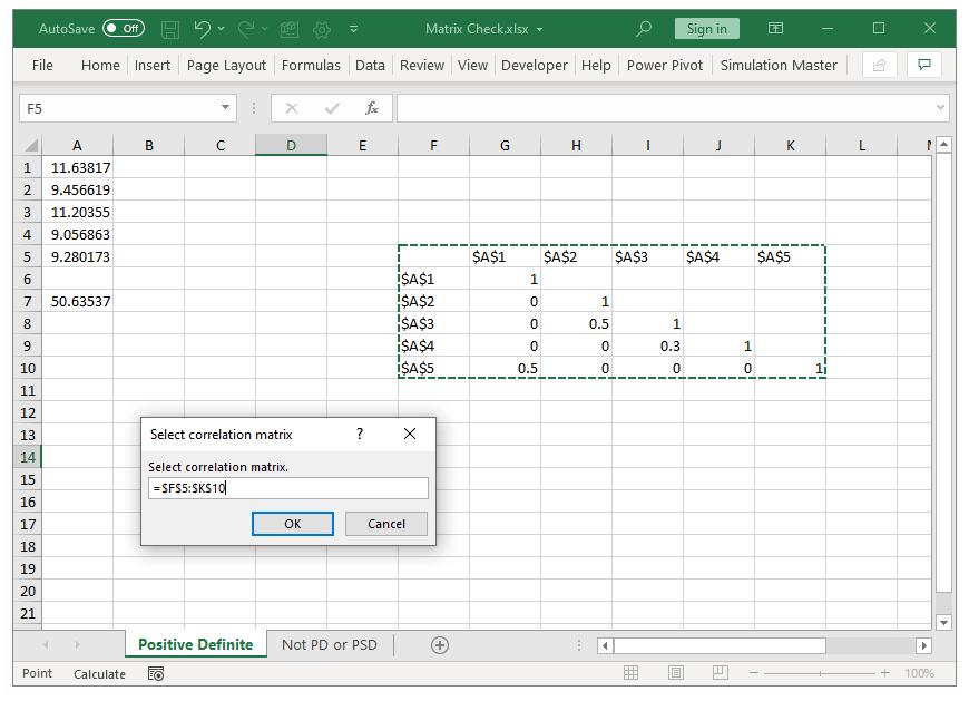 Selecting the correlation matrix