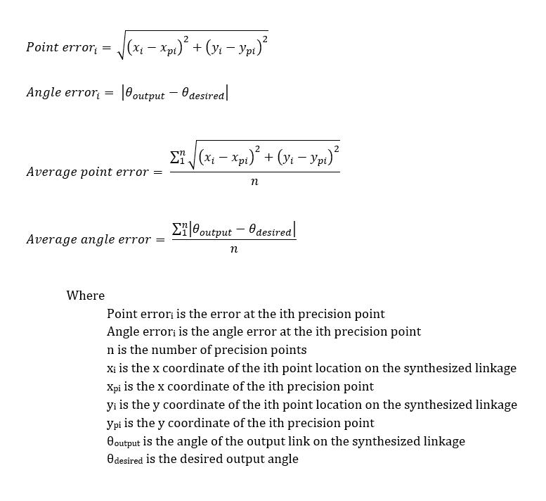 Motion error formulas